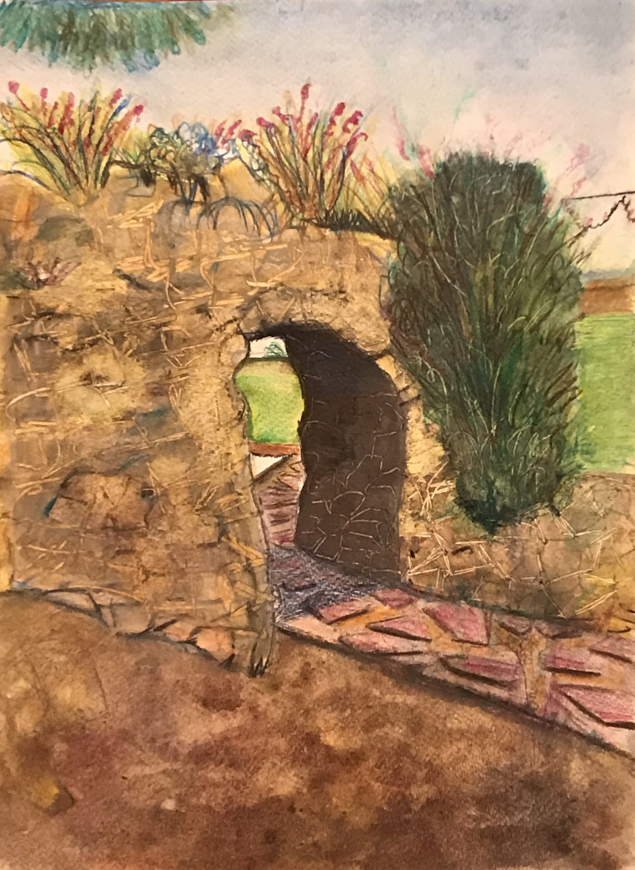 Using Watercolour Pencils, Felixstowe Seafront Gardens Archway ...
