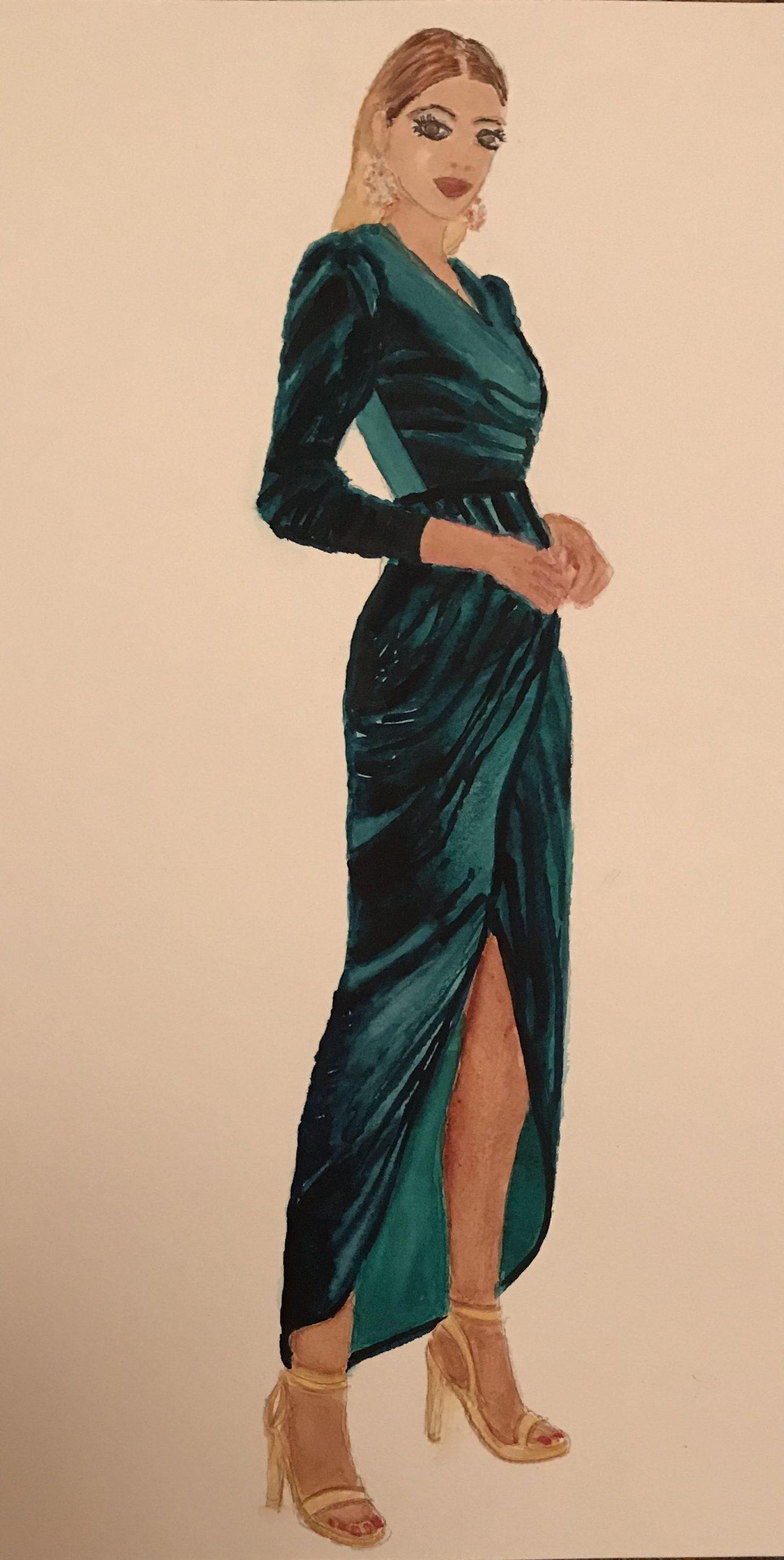 Velvet Fashion Illustration A Watercolour Painting Christina French