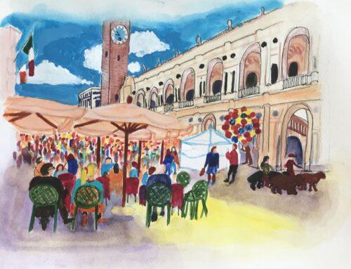 Italian Plaza – A Watercolour Painting