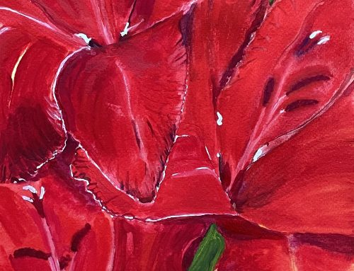 Gladioli in the Garden – A Watercolour Painting